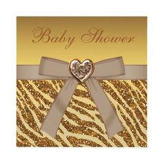 Elegant gold glitter zebra print, bow and heart jewel Baby Shower invitations. Decorated both sides. $1.95 #glitter #sparkle #bling