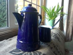Vintage Enamel blue coffee pot and milk jugold enamel by FabFrench