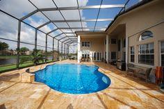 Two story pool enclosure Pool Screen Enclosure, Screen Enclosures, Swimming Pool Enclosures, Swimming Pools, Pool Cage, Lazy River Pool, Portable Pools, Florida Pool, Outside Pool