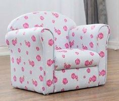 This children's armchair is upholstered with a blue, white and pink floral pattern and includes children's safety features. Get free delivery buying this item online. Kids Sofa Chair, Kids Armchair, Children's Armchair, Tub Chair, Armchairs For Sale, Fabric Armchairs, Wooden Lawn Chairs, Personalized Kids Chair, Toddler Girls