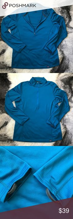 """Patagonia Large Capilene Midweight Zip in Blue Patagonia Women's Large Capilene Midweight Zip Neck in Underwater Blue  Measurements Approx (Lying Flat)  Labeled: US L (Asia XL) Armpit to Armpit: 22"""" Shoulder to Shoulder: 19.5"""" Sleeve: 25"""" Length: 26.5""""    Condition: Preowned but looks brand new. Vibrant color!    The most versatile polyester baselayer with the greatest comfort range.  4.4-oz (150-g) Polartec Power Grid 100% polyester (93% recycled) double knit with Polygiene permanent odor…"""