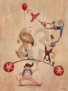 Vintage Circus Strong Man - Animals Canvas Wall Art | Oopsy daisy