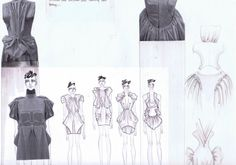 Fashion Sketchbook - dress design development with fashion sketches and use of fabric manipulation to create structure; fashion portfolio // Quinn Zhu