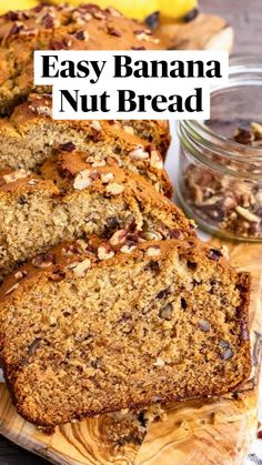 Banana Nut Bread Easy, Homemade Banana Bread, Chocolate Chip Banana Bread, Easy Bread Recipes, Banana Bread Recipes, Cupcakes, Easy Snacks, Food Cravings, Dessert Recipes