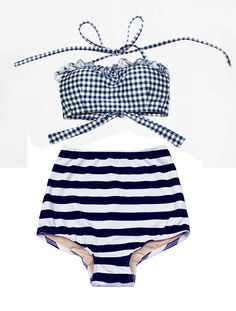 Navy Blue/White Tie Back Top and Retro Vintage by venderstore, $39.99
