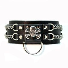 ALCAEUS Handmade Leather Dog Collar with Skull Crossbones and Chain Support Dog Rescue. $59.95, via Etsy.