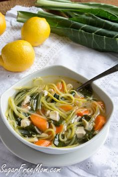 The BEST Low-Carb Zucchini Noodle Soups featured for Low-Carb Recipe Love found on KalynsKitchen.com.