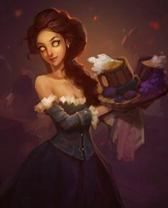 Gilneas Tavern Sketch, Julia Titova on ArtStation. 3d Fantasy, Fantasy Women, Fantasy Girl, Female Character Design, Character Concept, Character Art, Character Ideas, Dnd Characters, Fantasy Characters
