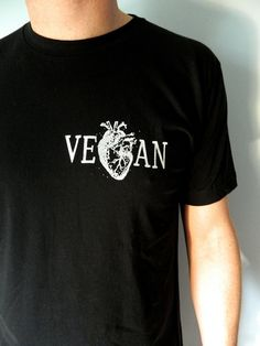 Vegan Heart  / Black Men's Unisex tshirt by VeganPolice on Etsy, $22.00