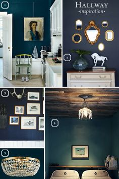 Love that bottom right, laundry room. The ceiling and chandelier with that blue. Swoon!