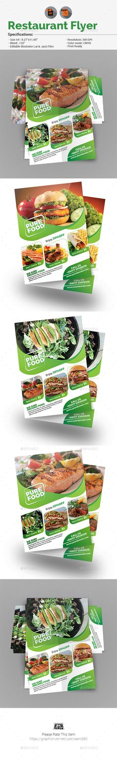#Restaurant #Flyer - Restaurant Flyers Download here: https://graphicriver.net/item/restaurant-flyer/19527070?ref=alena994