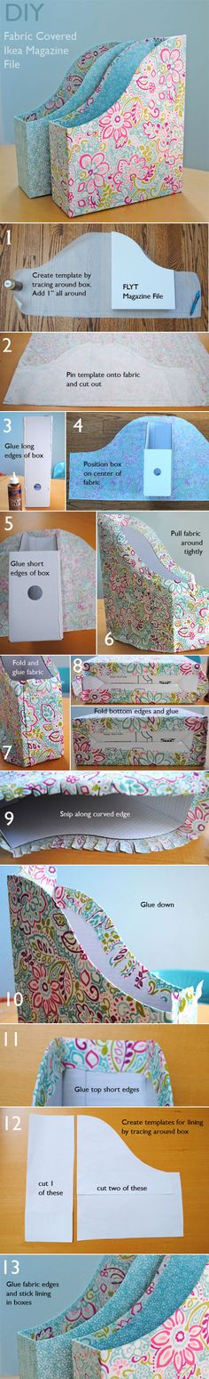 fabric covered ikea magazine files tutorial for organizing the sewing room Craft Room Storage, Craft Organization, Paper Storage, Storage Ideas, Storage Boxes, Diy Storage, Organizing, Fabric Storage, Diy Projects To Try