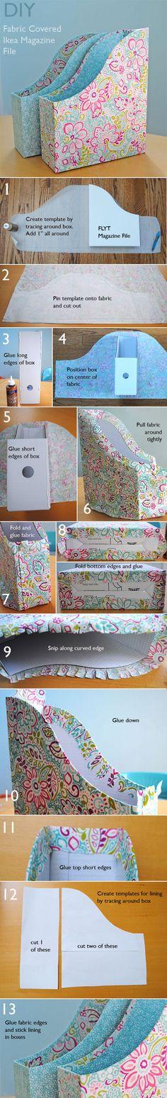 fabric covered ikea magazine files tutorial