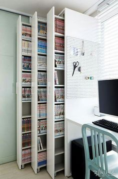 craft storage ideas for small spaces - craft storage ; craft storage ideas for small spaces ; Decor Room, Diy Home Decor, Bedroom Decor, Bedroom Storage, Closet Storage, Cabinet Storage, Storage Shelves, Wall Shelves, Study Room Decor