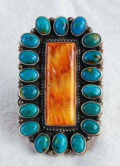 NAVAJO STERLING SILVER  SPINY OYSTER AND TURQUOISE RING ~ ANTHONY SKEETS