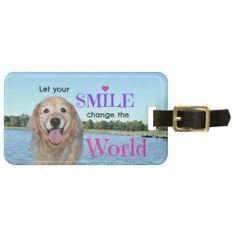 Golden Retriever Change the World Travel Bag Tag