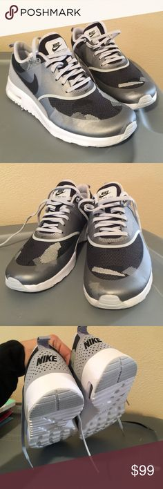 NEW Nike Air Max Thea silver gray white black rare NEW without box never worn. Rare pair of Nike air max Thea sneakers. Women's size 7.5 Lightweight and durable very comfy. Released 2016 and sold out. Colors are metallic silver gray white and black. I held on to them and never wore but I still have receipt so price is firm. Ships next day Nike Shoes Athletic Shoes