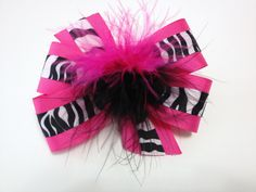 Girls Hot Pink Black and White Zebra Hair Bow Teen Hair Accessory with Feather Zebra Barrette *** Read more reviews of the product by visiting the link on the image.