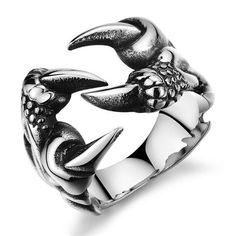 New Titanium Steel Punk Rock Style Wolf Claw Ring For Men