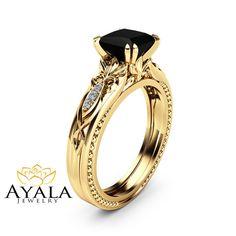 Black Diamond Victorian Engagement Ring 14K by AyalaDiamonds