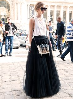 OBSESSED: Long tulle maxi skirt, white tank, and a mini animal print detailed bag #streetstyle maxi skirt tulle, streetstyle skirt, printed maxi skirt, outfit, long white tulle skirt, long tulle skirt, maxi skirt streetstyle, style long skirt, maxi skirts