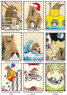 GUINEA PIG & CAPYBARA aceo Limited Edition by SuzannesGallery