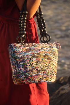 Multi-color Ugandan Paper Bead Handbag