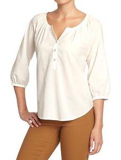 Women's Buttoned 3/4-Sleeve Tops in Sea Salt $24.94   Old Navy