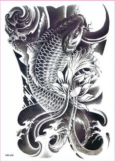 Carp cyprinoid fish lotus flowers large temporary tattoos for arms legs Waterproof tatoo sticker women men  Size: 150 mm X 210 mm  Non-toxic