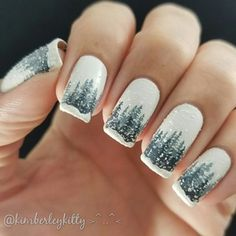 3D Snowy Forest Nails! ❄❄❄ : RedditLaqueristas