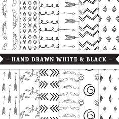 Premium Digital Paper - Scrapbooking Paper - Hand Drawn patterns - Tribal - White and Black - Patterned Digital Paper - Printable Paper Set - Bujo, Clipart, Hand Drawn Arrows, Arabic Pattern, Tribal Patterns, Pretty Designs, Black And White Design, Pattern Drawing, Scrapbook Paper