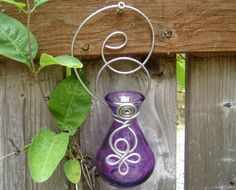 Great for a porch or patio and indoors too! Purple Little Celtic Spiral Hanging Vase for by nicholasandfelice, $ 18.00