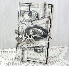 An elegant black and white masculine card, the Mister Tom's Treasures paper collection