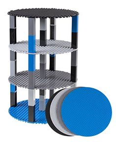 Premium Space Themed Blue Gray Light Gray and Black 8 Circle Stackable Base Plates  4 Pack Baseplate Bundle with 32 2x2 New and Improved Stackers  Compatible with all Major Brands -- Clicking on the VISIT button will lead you to find similar product on Amazon website