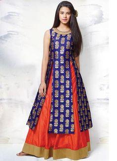 Rvcreation new designer blue orange lehenga choli indian ethnic girls party dresses Indian Dresses For Kids, Dresses Kids Girl, Girls Party Dress, Party Wear Dresses, Dresses For Teens, Trendy Dresses, Indian Outfits, Baby Dress, Kids Lehenga Choli