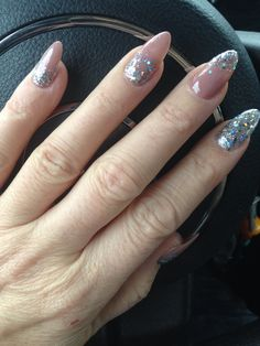 Almond New Years nails