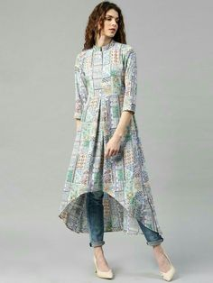 Buy Libas Multicoloured Polyester Printed High-Low Hem A-Line Kurta online in India at best price. Multicoloured printed A-line kurta, has a mandarin collar, three-quarter sleeves, curved high-low he Stylish Dresses, Casual Dresses, Fashion Dresses, Stylish Kurtis, Kurti Patterns, Dress Patterns, Kurta Designs Women, Blouse Designs, Latest Kurti Designs