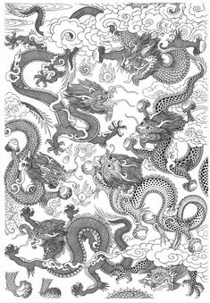 Dragons from The Encyclopedia of Tibetan Symbols and Motifs by Robert Beer. Tibetan Symbols, Buddhist Symbols, Buddhist Art, Chinese Dragon, Chinese Art, Tibetan Dragon, Tibetan Tattoo, Tibet Art, Dragon Illustration