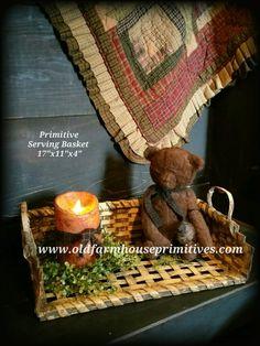 Primitive Mustard Serving Basket