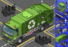 Isometric Garbage Truck in Front View