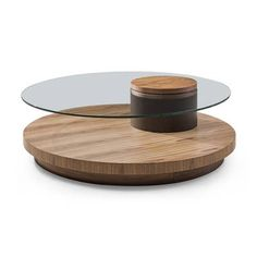 Vig Furniture Modrest Memphis Modern Walnut and Glass Round Coffee Table