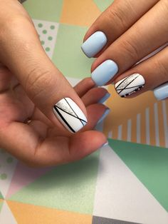 31 chic winter nail designs for short nails 15 Classy Nails, Stylish Nails, Simple Nails, Blue And White Nails, Blue Nails, My Nails, Classy Nail Designs, White Nail Designs, Stripe Nail Designs