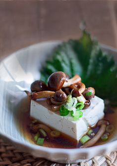 Tofu in Dashi with Sautéed Japanese Shimeji Mushrooms