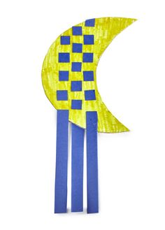"""A weaving project that will hang in their rooms for a long time! Includes: moon shapes with slits, paper strips, yarn. Measures: 10"""" x 4""""."""