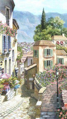 Фреска Улочка в южном городке, 155 (ш) х 275 (в) см, (4,26 м2), Артикул: PG 012