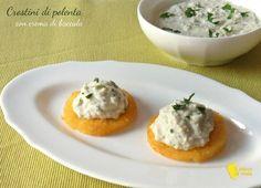 Polenta+fritta+con+crema+di+baccalà+(ricetta+antipasto)