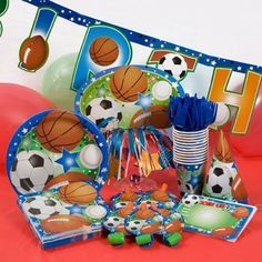Ultimate Sports Theme Party Kit  Features FootballSoccerBaseballBasketball  Included in Pack Invitations Plates Napkins Cups Party Hats  Decor Serves up to 10 *** Check this awesome product by going to the link at the image.Note:It is affiliate link to Amazon.