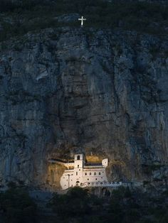 Ostrog Monastery, Ostroška Greda, Montenegro. Monastery of the Serbian Orthodox Church,  high up in the large rock.