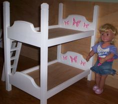 Handmade 18 Inch Doll Size Bunk Bed White Bed With Hot Pink Butterfly Headboard…