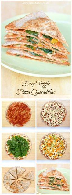 Easy vegetarian pizza quesadilla recipe - a quick and healthy lunch idea that is ready in just 5 minutes! - Eats Amazing UK